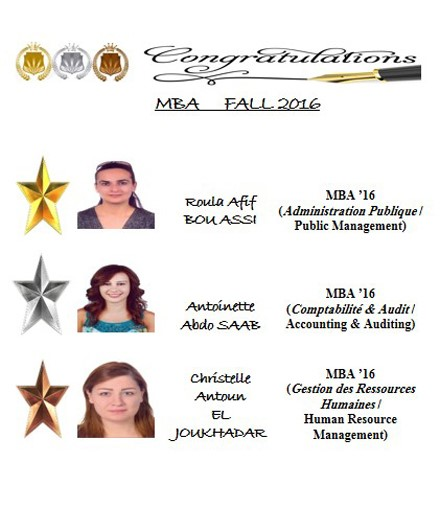 Top Business Students in Fall 2016